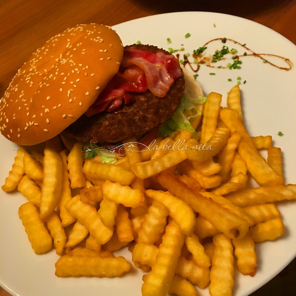 This hamburger was so HUGE, that we split it between us for our dinner and were still so full! It was truly a mouth-watering burger!