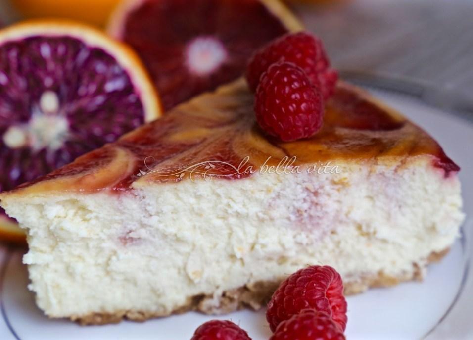 Orange Blood and Raspberry Swirl Cheesecake