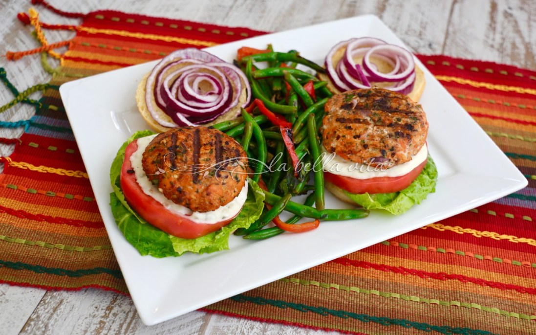 Italian Seasoned Salmon Burgers