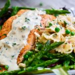Salmon, Peas and Asparagus with Pasta in Lemon Cream Sauce