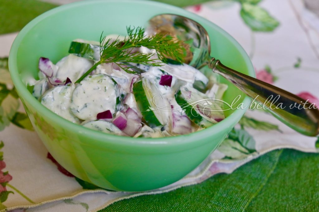 creamy cucumber salad kissed with garlic
