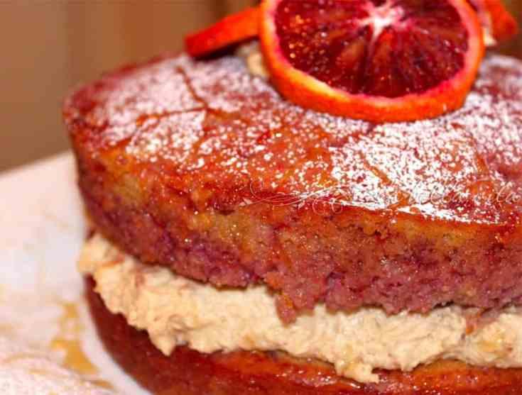Blood Orange Polenta Olive Oil Layer Cake with Orange Mascarpone Filling