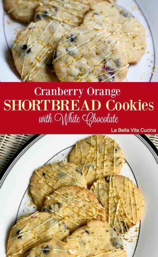 Cranberry Orange Shortbread Cookies with White Chocolate