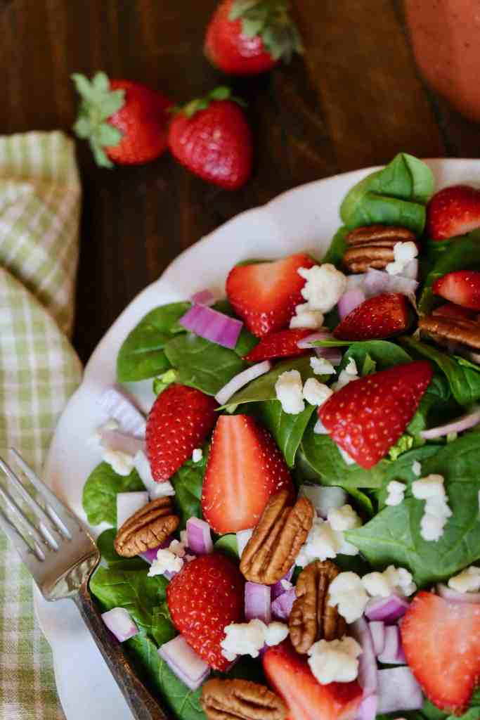 Strawberry Spinach Salad with Strawberry Balsamic Vinaigrette