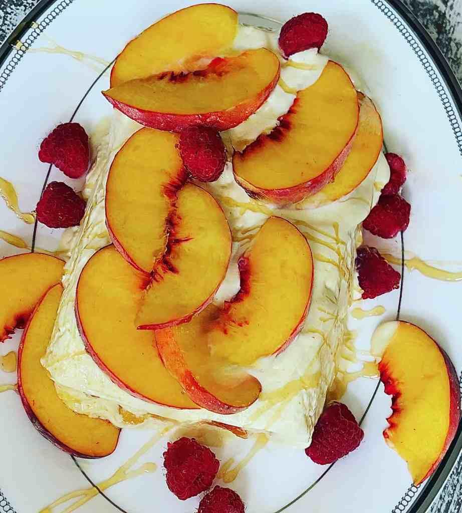 Peach Semifreddo with Raspberries and Honey Drizzle