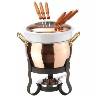 Fondue set copper