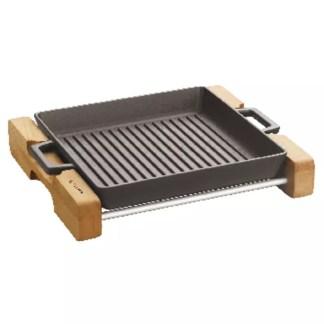 Padella grill ghisa con supporto legno