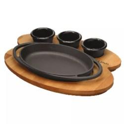 Piatto ovale con supporto legno