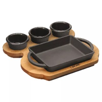 Rectangular pan with wooden platter