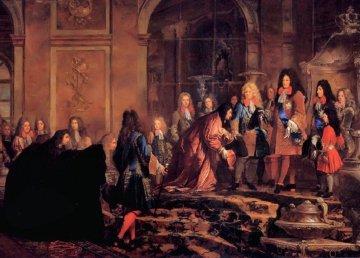 Luigi XIV a Versailles, Claude Guy Hallé (1685)