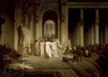 La morte di Cesare, quadro di: Jean-Léon Gérôme.