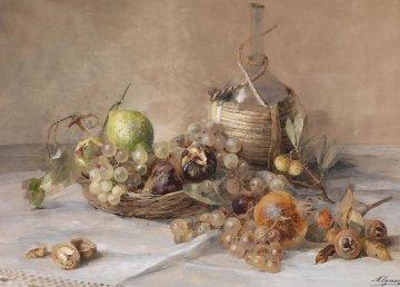 Natura morta con frutta e fiasco di Chianti di Marie Egner, Wikimedia Commons