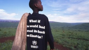 Tanzania / Rwandan refugee / Boy wearing an Einstein visibility t-shirt / Benaco camp / UNHCR / T. Bølstad / November 1994