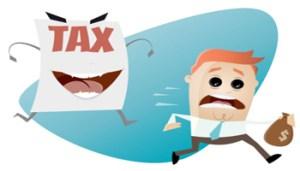 72244868 - afraid man running away from a tax assessment monster