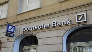 REUS, SPAIN - February 20, 2016: Deutsche Bank branch office, with white text and logo, in the city of Reus at Spain, on februrary 20, 2016
