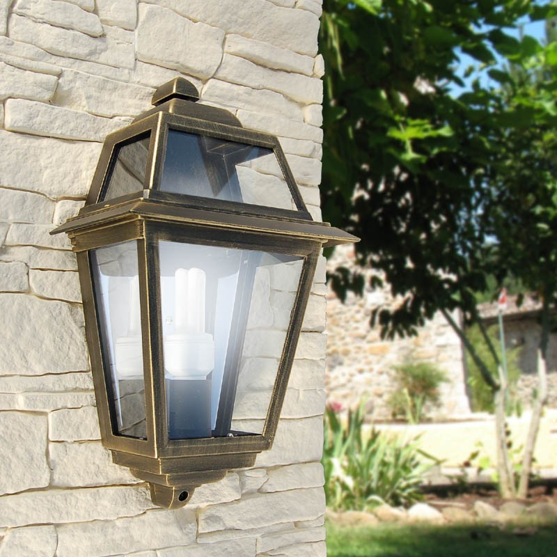 Mengjay applique per esterni, e27 nero lampada da parete rustica lanterna. The Artemis Half Lantern Wall Square Classic Lighting Outdoor Garden