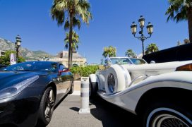 Concept of wealth, sports car and limousine in Monaco