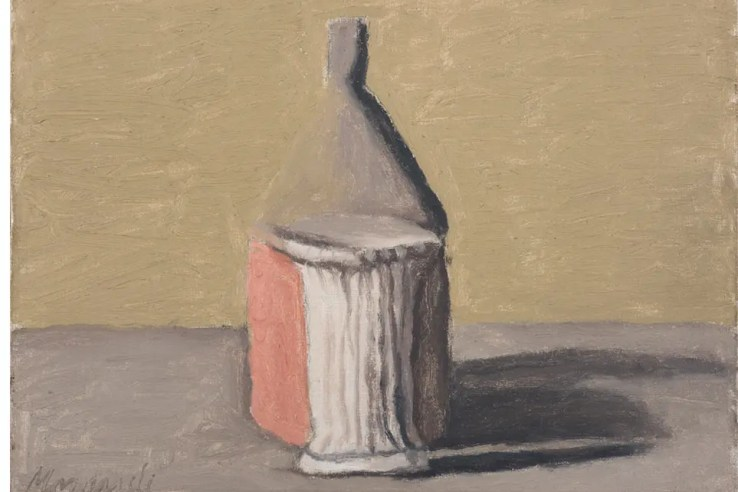 Giorgio Morandi, Still Life, 1960, Oil on Canvas, 25 x 35 cm @2015 Artists Rights Society (ARS), New York / SIAE, Rome. Reproduction, including downloading of Giorgio Morandi works, is prohibited by copyright laws and international conventions without the express written permission of Artists Rights Society (ARS), New York