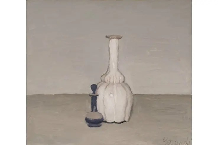 Giorgio Morandi, Still Life, 1955, Oil on canvas, 40 x 35 cm, Private collection,  @2015 Artists Rights Society (ARS), New York / SIAE, Rome. Reproduction, including downloading of Giorgio Morandi works, is prohibited by copyright laws and international conventions without the express written permission of Artists Rights Society (ARS), New York