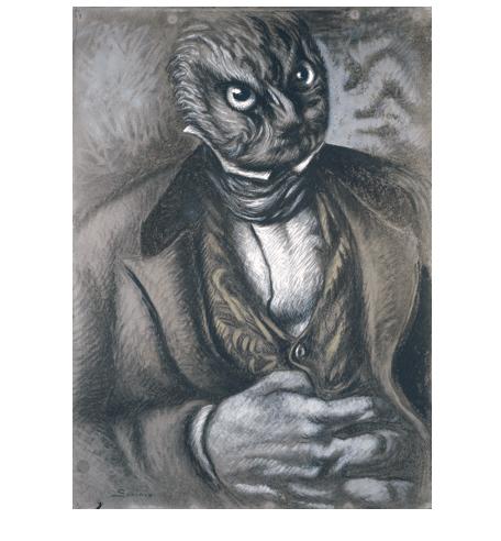 """Alberto Savinio, """"Autoritratto in forma di gufo (Self-Portrait in the Form of an Owl),""""  1936, GAM Torino. (c) 2017 Artists Rights Society (ARS) / SIAE, Rome."""