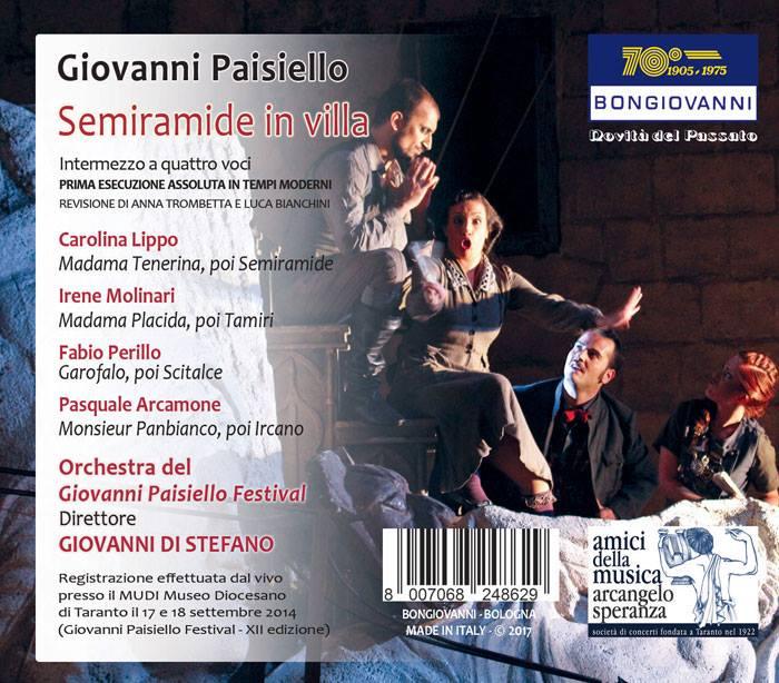 retro di copertina del CD della Semiramide in Villa di Paisiello per il Festival di Taranto, revisione Bianchini e Trombetta
