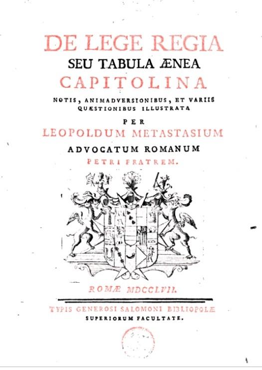 Leopold Metastasio - copertina del De Lege Regia