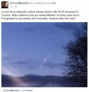 Il meteorite fotografato nel cielo di Pisa