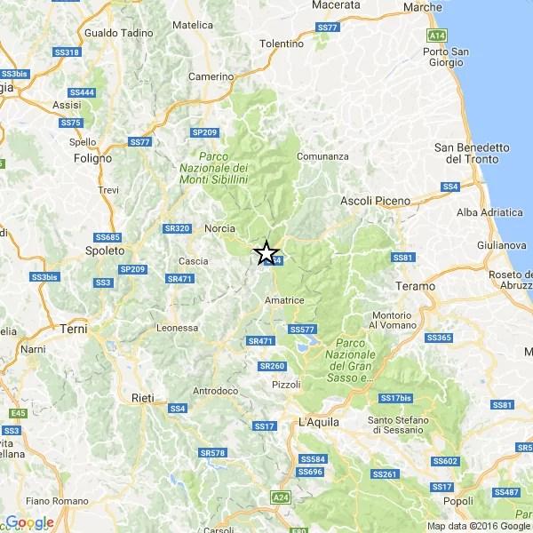 Terremoto Rieti, epicentro