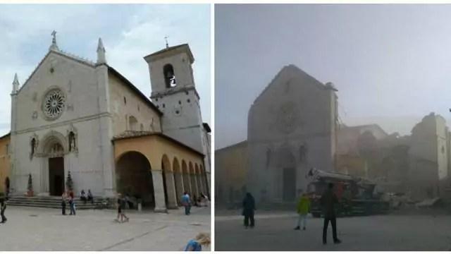 Fotocomposizione della basilica di San Benedetto a Norcia, come era prima e come si vede dopo i danni del terremoto
