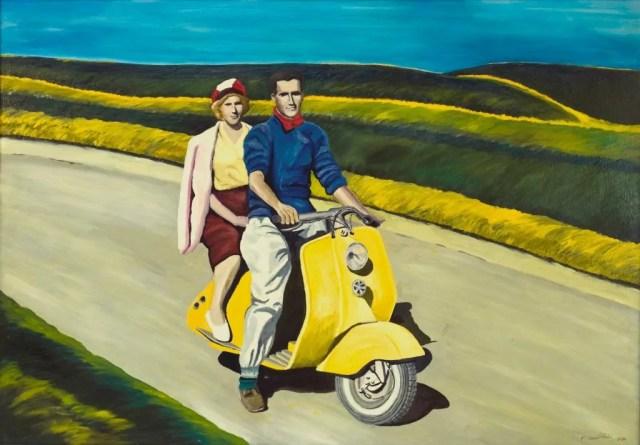 Francesco Gentilini, Lambretta (olio su tela 70x100 del 1988), uno dei quadri della mostra Istanti al via a Milano.