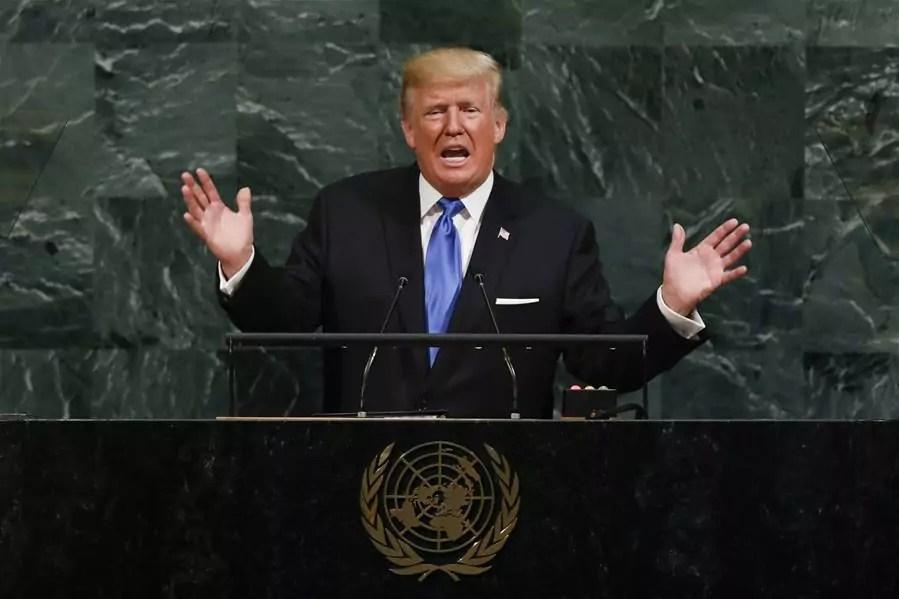 Il presidente Usa Trump parla alla 72esima Assemblea Onu di New York il 19 settembre 2017 (ph. Xinhua / Li Muzi).