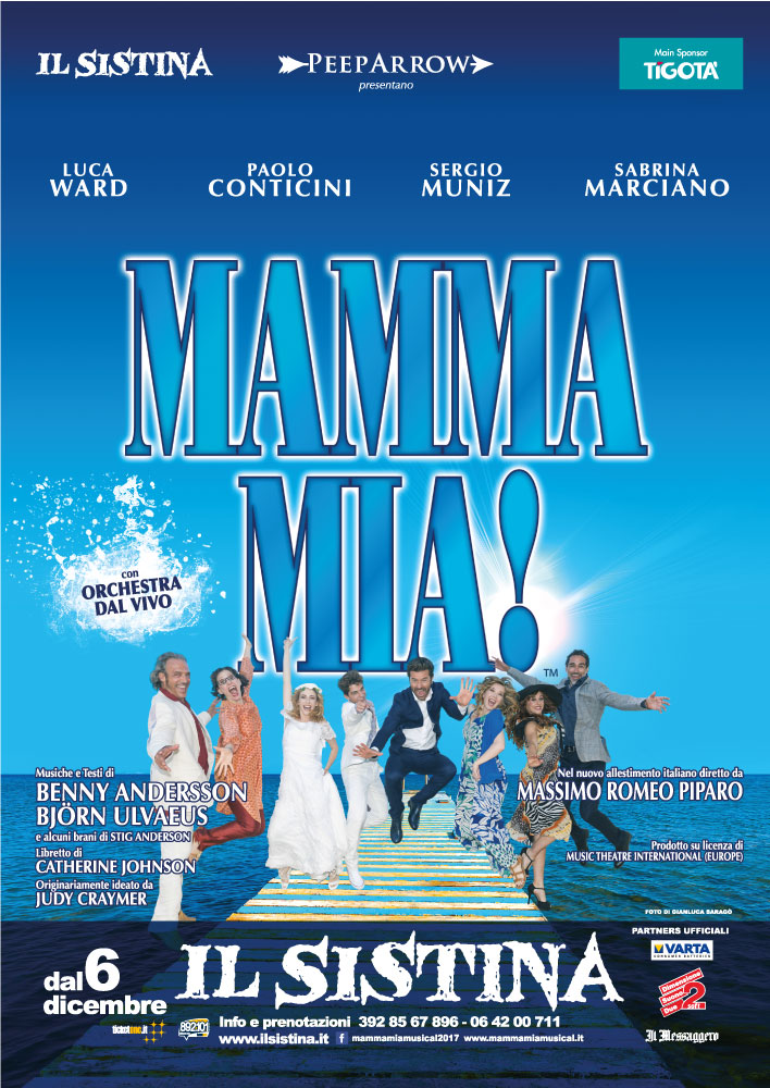 La locandina del musical Mamma mia!, in arrivo per Natale al teatro Sistina di Roma.