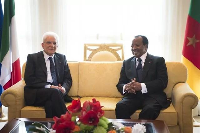 L'incontro tra il presidente della Repubblica Sergio Mattarella e il presidente del Camerun Paul Biya (ph. Quirinale).