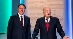 """Marmellata renziana: Ciriaco De Mita e Matteo Renzi in una foto di Roberto Monaldo / LaPresse del 28 ottobre 2016 (La7 - Trasmissione tv """"Si o No"""", confronto sul referendum)."""