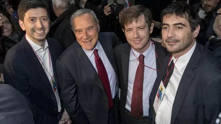 Roberto Speranza, Pippo Civati e Nicola Fratoianni danno vita con Pietro Grasso al Partito unico della Sinistra (ph. LaPresse).