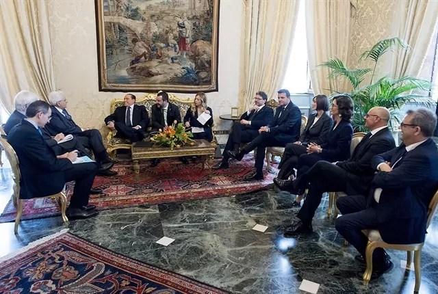 La delegazione del Centrodestra con Silvio Berlusconi, Matteo Salvini e Giorgia Meloni con il Presidente della Repubblica Sergio Mattarella-