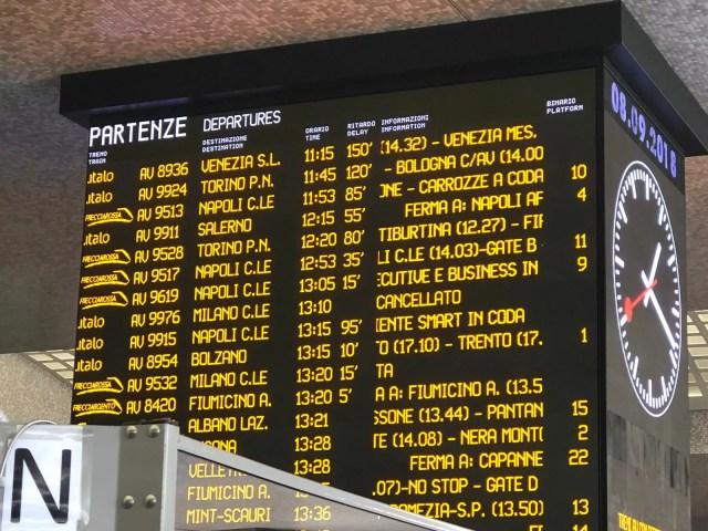 Termini trenitalia ritardi treni alta velocita
