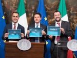 Reddito di Cittadinanza e Quota 100, la presentazione a Palazzo Chigi con Giuseppe Conte, Luigi Di Maio e Matteo Salvini. Palazzo Chigi, 17 gennaio 2019.