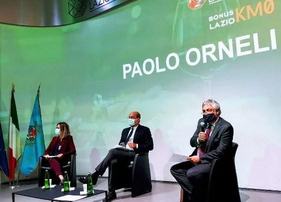 Il presidente della Regione Lazio, Nicola Zingaretti, e gli assessori all'Agricoltura Enrica Onorati, e allo Sviluppo Economico, Paolo Orneli, alla presentazione del bando BONUS LAZIO KM0.