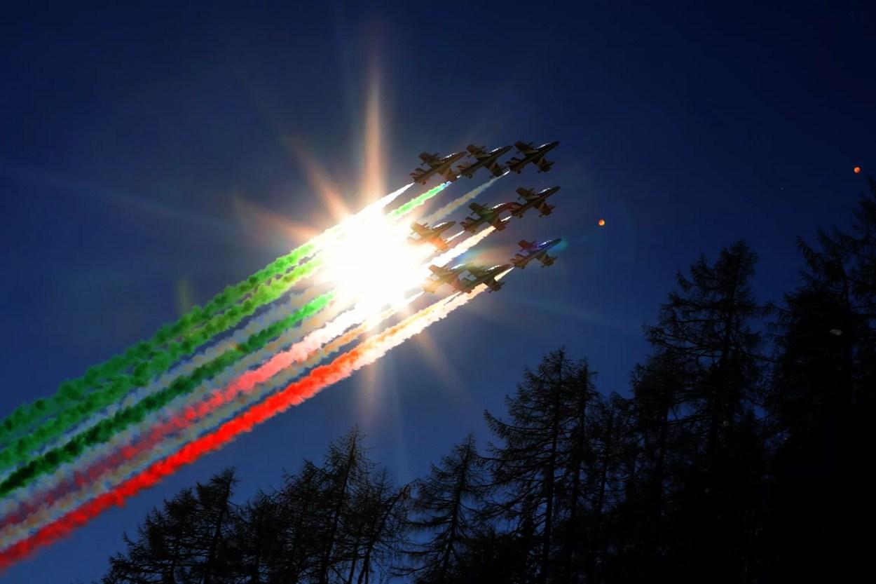 Cortina 2021 Campionati mondiali id sci alpino. Frecce Tricolori a Cortina d'Ampezzo 14/02/2021 (Photo: Pentaphoto Marco Trovati).
