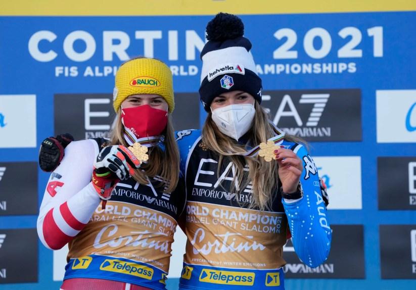Cortina 2021 Campionati mondiali di Sci alpino. Cortina d'Ampezzo 16/02/2021 Parallelo: Marta Bassino (Italia) e Katharina Liensberger (Austria) (Photo: Pentaphoto Gio Auletta).