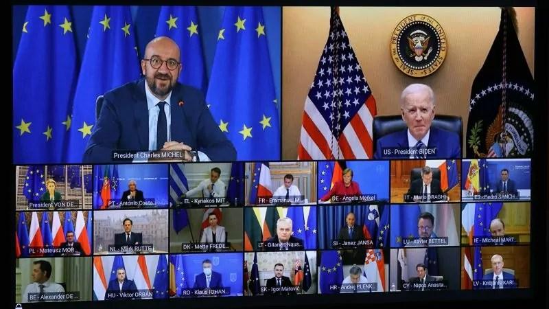 Il presidente Usa Joe Biden partecipa alla video conferenza del Consiglio europeo del 25 marzo 2021.