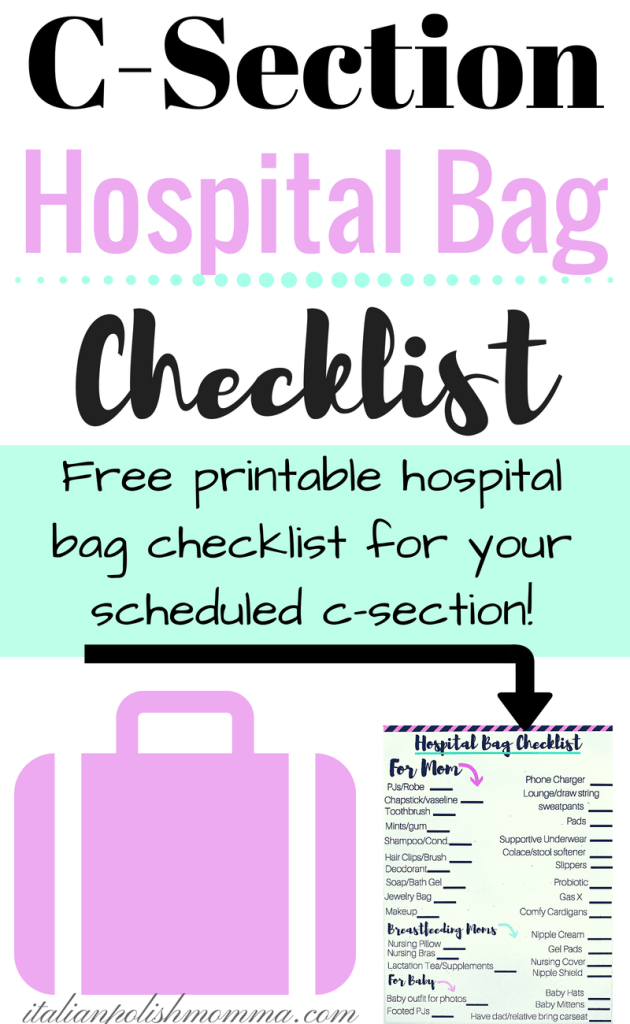 C-section hospital bag checklist