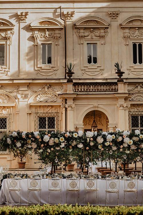 Wedding dinner at Villa Aurelia in Rome
