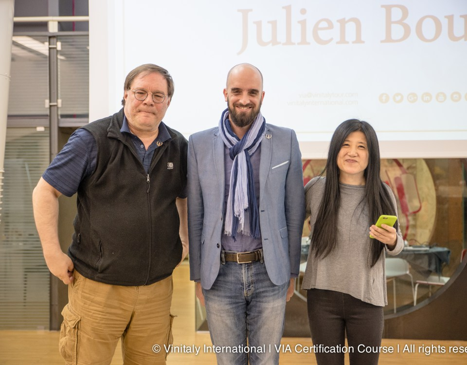 Julien Boulard (centre) with Ian D'Agata (left) and Stevie Kim (right)