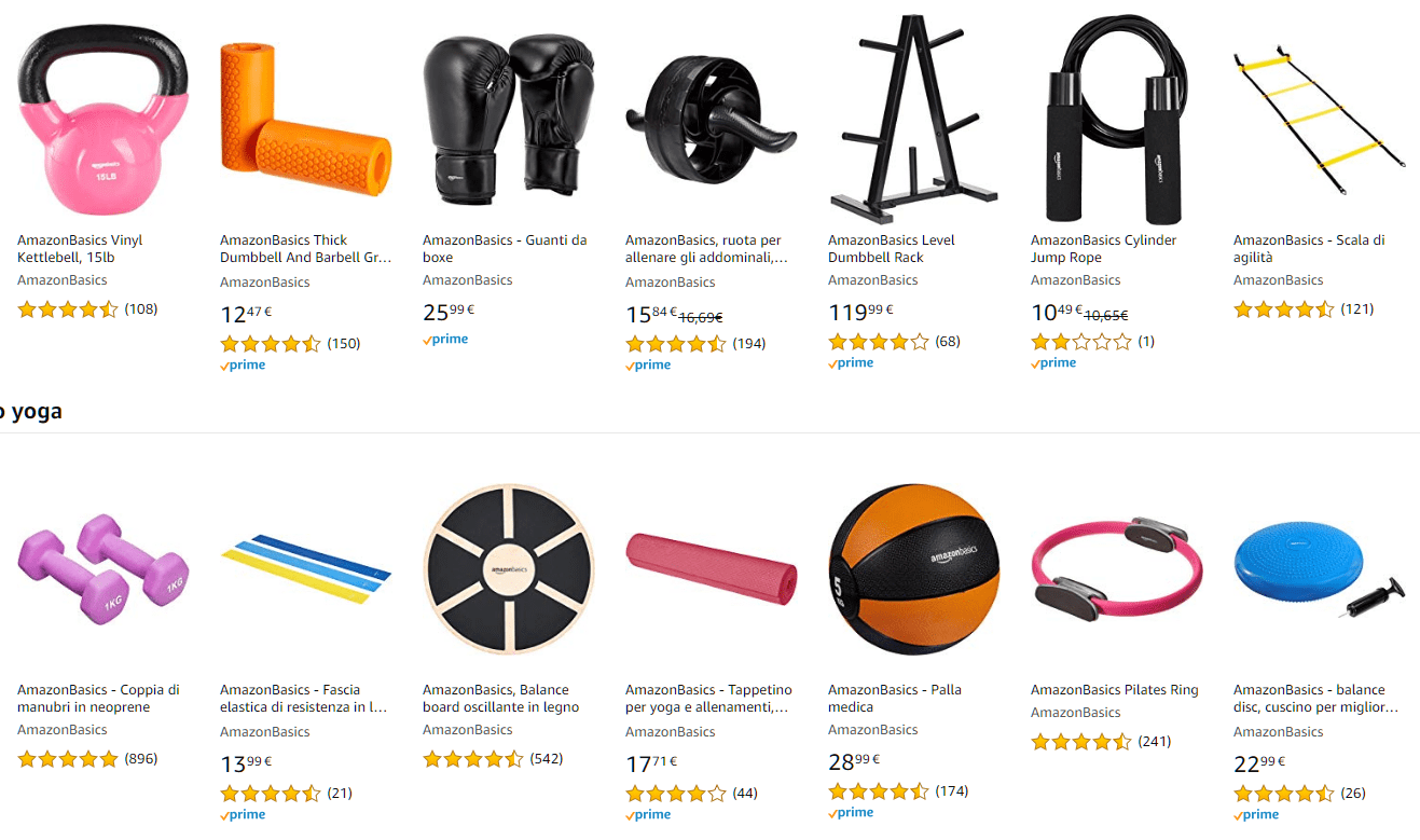 I marchi Amazon Basics per lo sport