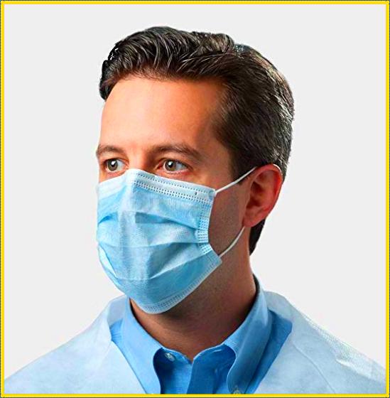 Maschera monouso a 3 strati ed elastico 50 pezzi | D.P.I. |  Mascherine di protezione da agenti esterni | Disposable 3-layer mask