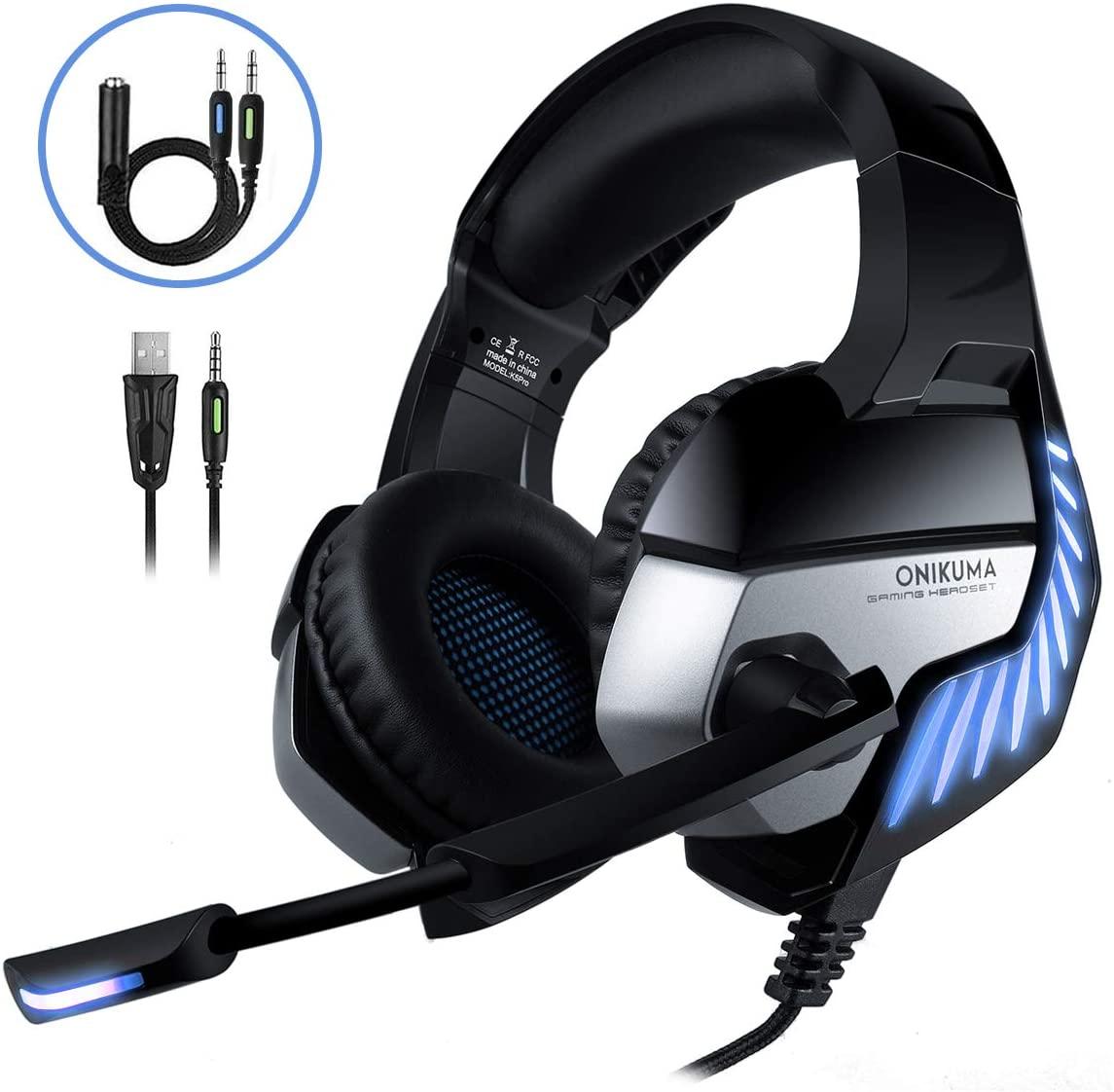 CHEREEKI Cuffie Gaming per PS4, Cuffie da Gioco con Microfono Cancellazione del Rumore, Luce LED e Controllo Volume per Xbox One X/PC/Laptop/Tablet