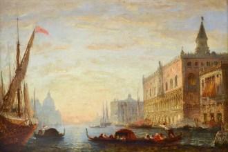Félix Francois George Philibert Ziem(1821 – 1911) , Zonsondergang op het Canal Grande met uitzicht op het Dogenpaleis en de Santa Maria della Salute ,olieverf op paneel, voor 1865