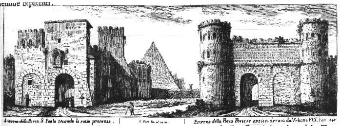De piramide en Porta San Paolo op een ets van Vasi Bron: www.romeartlover.it